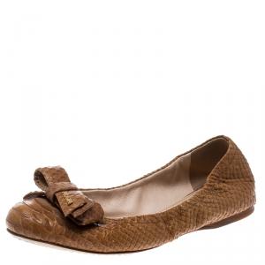 Prada Sport Beige Python Leather Scrunch Bow Ballet Flats Size 36