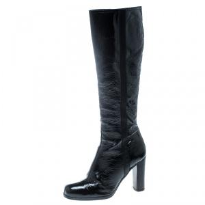Prada Sport Black Crinkled Patent Leather Block Heel Knee Boots Size 36.5