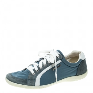 Prada Sport Blue Leather and Nylon Low Top Sneakers Size 38