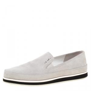 Prada Sport Grey Suede Slip On Sneakers Size 37.5