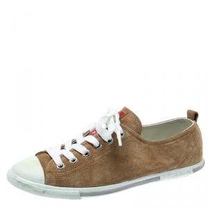 Prada Sport Beige Suede Low Top Sneakers Size 37.5