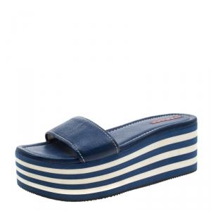 Prada Sport Blue Leather Flat Sandals Size 37