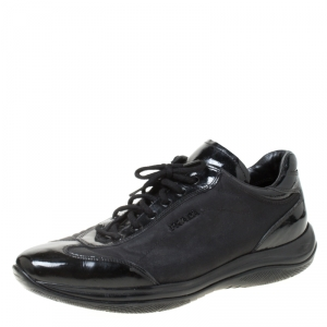 Prada Sport Black Patent Leather And Fabric Lace Up Sneakers Size 40