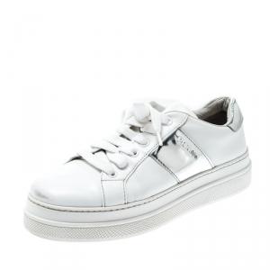 Prada Sport White Metallic Silver/White Leather Lace Up Sneakers Size 37