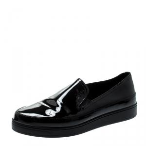 Prada Sport Black Patent Leather Platform Loafers Size 36.5