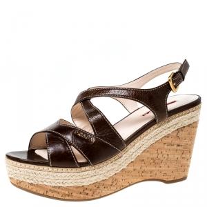 Prada Sport Brown Leather Strappy Cork Wedge Platform Sandals Size 39.5