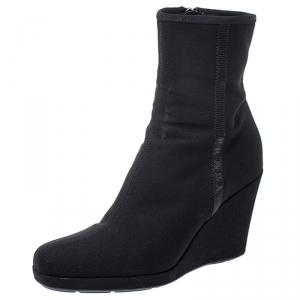 Prada Sport Black Nylon Wedge Ankle Boots Size 36.5