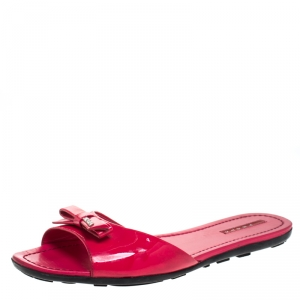 Prada Red Patent Leather Bow Flat Slides Size 41
