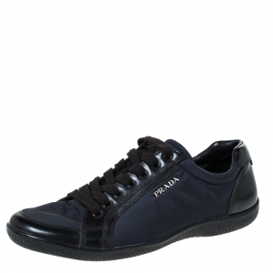 Prada Sport Black Nylon and Leather Low Top Sneakers Size 37