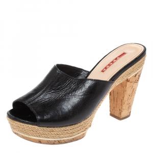 Prada Sport Black Leather Espadrille Cork Heel Slide Platform Sandals Size 38.5 - used