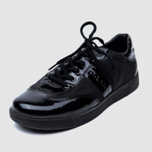 Prada Sport Black Leather Lace Up Sneakers Size 37.5