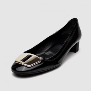 Prada Sport Black Patent Leather Block Heel Pump Size 41