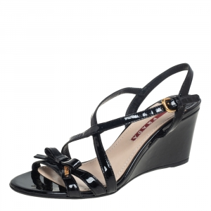 Prada Sport Black Patent Leather Bow Wedge Sandals Size 36 - used