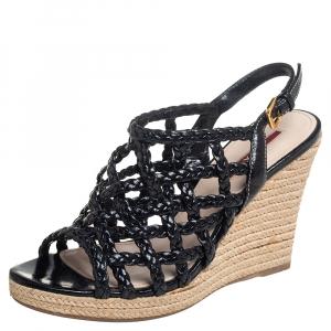 Prada Sport Black Braided Leather Cage Wedge Espadrille Slingback Sandals Size 36 - used
