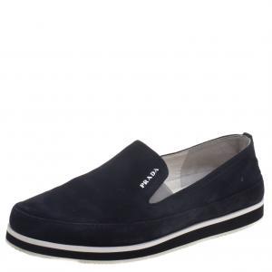 Prada Sport Navy Blue Suede Slip On Loafers Size 37