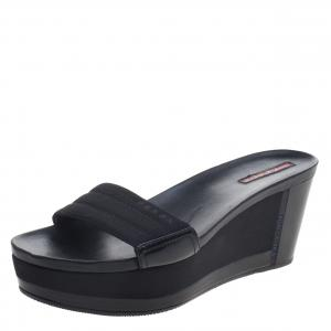 Prada Sport Black Canvas and Leather Wedge Slides Size 39.5
