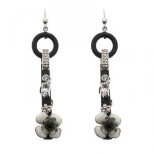 Prada Flower Power Black Plexiglas Crystal Floral Bedecked Long Link Earrings