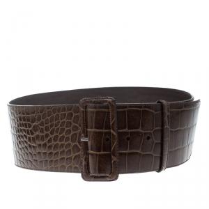 Prada Brown Shine Alligator Wide Belt 85cm