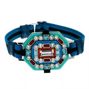 Prada Blue Crystal Embellished Adjustable Cord Bracelet