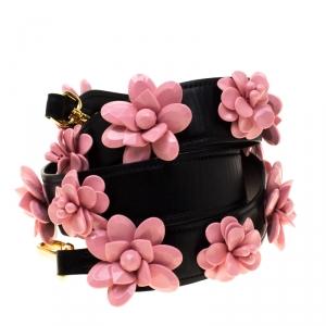 Prada Black Leather Flower Bag Strap