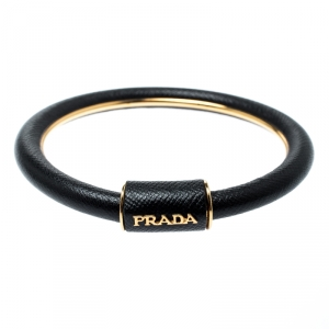 Prada Black Saffiano Leather Cuff Bracelet