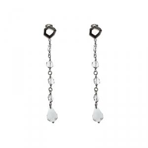Prada Clear Bead Crystal Clip-on Long Drop Earrings