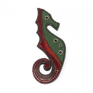 Prada Multicolor Leather Seahorse Pin Brooch