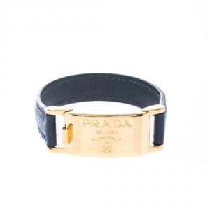 Prada Navy Blue Leather Gold Tone Bracelet