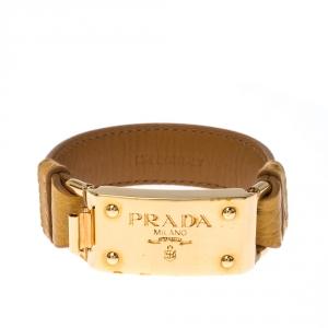 Prada Yellow Ostrich Leather Gold Tone Bracelet 17 cm