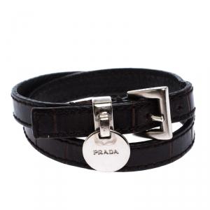 Prada Brown Leather Silver Tone Double Wrap Bracelet