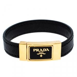 Prada Black Saffiano Leather Signature Logo Cuff Bracelet M