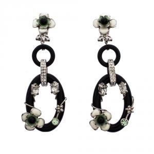 Prada Flower Power Black Plexiglass Crystal Floral Bedecked Link Long Earrings
