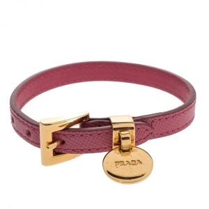 Prada Pink Saffiano Leather Gold Tone Logo Charm Bracelet
