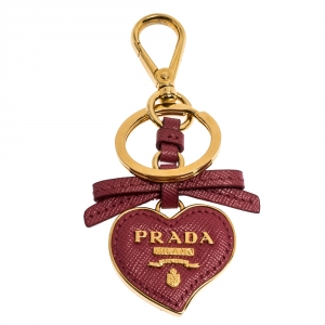 Prada Petal Pink Saffiano Leather Heart Key Chain/ Bag Charm