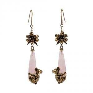 Prada Rose Quartz Gold Tone Koala Talisman Drop Earrings