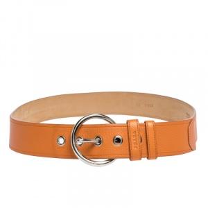 Prada Orange Leather Wide Belt 90CM
