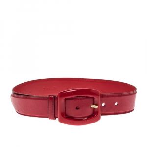 Prada Red Leather Buckle Waist Belt 70CM