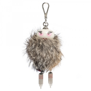 Prada Multicolor Fox Fur Millie Robot Keychain