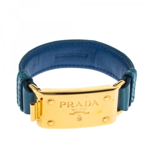 Prada Teal Blue Embossed Leather Bracelet