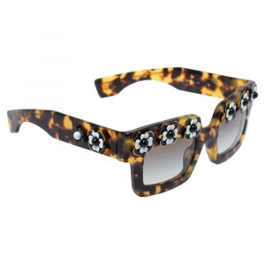 Prada Tortoise Shell / Grey Gradient SPR25P Flower Poeme Square Sunglasses