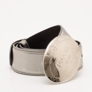 Prada Metallic Silver Belt