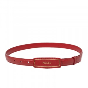 Prada Red Saffiano Leather Logo Plaque Slim Belt 80CM