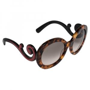 Prada Blonde Havana & Red/ Grey Gradient SPR 08T Minimal Baroque Round Sunglasses