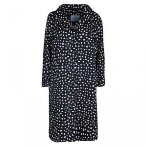 Prada Navy Blue and White Printed Silk Overcoat L