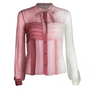 Prada SS'04 Pink Ombre Neck Tie Detail Pleated Long Sleeve Silk Blouse S