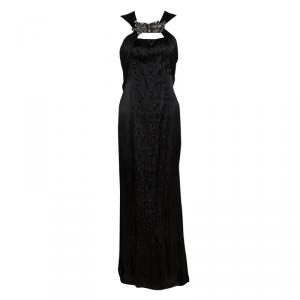 Prada Black Satin Neck Embellished Draped Ruffle Detail Sleeveless Gown M used
