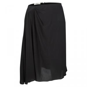 Prada Black Draped Silk Mini Skirt M