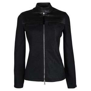 Prada Black Leather Yoke Detail Zip Front Mesh Jacket S