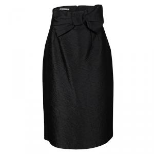 Prada Crushed Black Bow Detail High Waist Skirt L