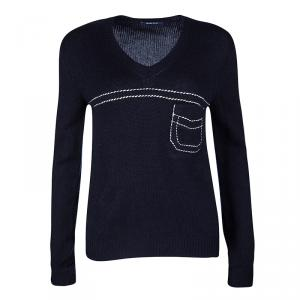 Prada Navy Blue Cashmere Contrast Stitch Detail V Neck Sweater S